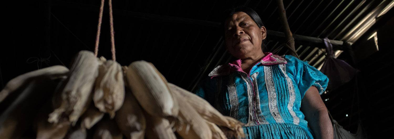 Una mujer en Guatemala y alimentos